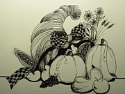 Basket Drawings Prints - Harvest display Print by Laura Collins