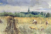 Harvest Paintings - Harvest Field at Stratford upon Avon by John William Inchbold