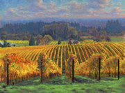 Wine Vineyard Paintings - Harvest Gold by Michael Orwick
