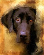 Black Lab Puppy Paintings - Harvest Lab by Robert Smith