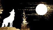 Moonlit Night Photos - Harvest Moon And Coyote 2 by Marilyn Hunt
