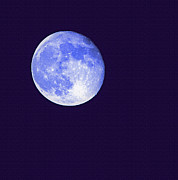 Man In The Moon Prints - Harvest Moon - Blue Moon Print by Steve Ohlsen