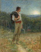 Watercolor Landscapes Posters - Harvest Moon Poster by Helen Allingham