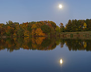 Reflection Harvest Photo Posters - Harvest Moon Reflections Poster by Kevin Palmer