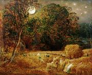 Harvesting Metal Prints - Harvest Moon Metal Print by Samuel Palmer