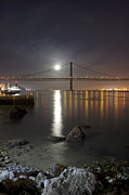 Reflection Harvest Metal Prints - Harvest Moon Sets Over The Tagus River Metal Print by Miguel Claro