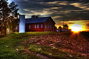 Barns Pyrography Metal Prints - Harvest Sunset Metal Print by Mark Six