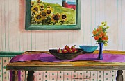 Flowers Sunflowers Barn Prints - Harvest Table Print by John  Williams