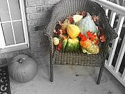 Wicker Chair Prints - Harvest Time Print by Deborah MacQuarrie
