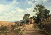 Cornfield Paintings - Harvest Time by George Vicat Cole
