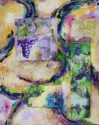 Blue Grapes Mixed Media Prints - Harvest Time Print by Kathie Selinger