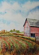 Indiana Autumn Painting Prints - Harvest Time Print by Mike Yazel