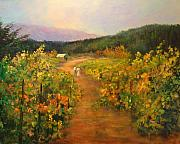 Pastoral Vineyards Painting Posters - Harvest Walk Poster by Sally Seago