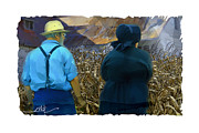 Amish People Posters - Harvesting The Corn Poster by Bob Salo