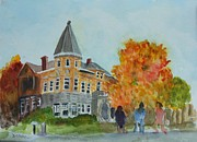 Library Painting Originals - Haskell Free Library in Autumn by Donna Walsh