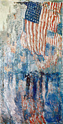 Stars And Stripes.   Posters - Hassam Avenue In The Rain Poster by Granger
