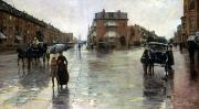 Rainy Street Prints - Hassam: Rainy Boston, 1885 Print by Granger