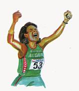 Hassiba Boulmerka Print by Emmanuel Baliyanga