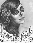 Sugar Skull Drawings Posters - Hasta La Muerte Poster by Brandon Hurley