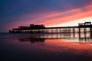Purple Sea Print Prints - Hastings Pier - purple Print by Dawn OConnor