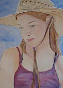 Sun Hat Framed Prints - Hat and Shoulders Framed Print by Jenny Armitage
