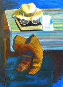 Brown Boots Painting Originals - Hat Glasses Book  by Kenneth Michur