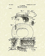Rear View Drawings - Hat Mirror 1903 Patent Art by Prior Art Design