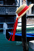 Canal Art - Hat on pole Venice by Garry Gay
