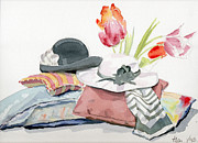Scarves Painting Originals - Hat Scarves Pillow and Flowers by Alan Smith