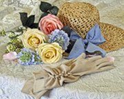 Straw Hats Photos - Hat With Flowers by Kenny Francis