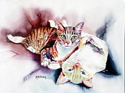 Flame Paintings - Hathaway Cats by Maria Barry