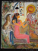 Prasenjit Dhar Mixed Media Metal Prints - Hathor and Horus Metal Print by Prasenjit Dhar