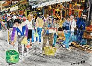 Israel Paintings - Hatikva Market by Abraham Zimmermann