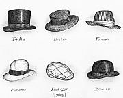 Black Top Drawings Prints - Hats of a Gentleman Print by Adam Zebediah Joseph