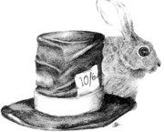 Mad Hatter Drawings - Hatter and the hare by Meagan  Visser