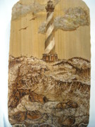 Lighthouse Pyrography Posters - Hatteras and Horseshoe Crabs Poster by Doris Lindsey