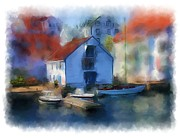 Harbour Mixed Media Prints - Haugesund Boat House Print by Michael Greenaway