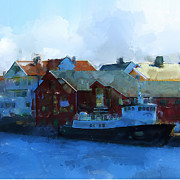 Town Center Prints - Haugesund Harbour Smeasund Print by Michael Greenaway
