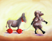 Donkey Painting Posters - Haulin Ass Poster by Conni Togel