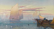 Boats In The Harbor Prints - Hauling in the Nets Print by JB Pyne