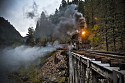 Railroad Metal Prints - Hauling though the mountains Metal Print by Patrick  Flynn