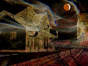 Haunted House Photo Posters - Haunted Evening Poster by Shirley Sirois