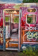 Paint Photograph Posters - Haunted Graffiti Art Bus Poster by Susan Candelario