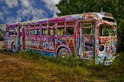 Foliage Metal Prints - Haunted Graffiti Bus Art Metal Print by Susan Candelario