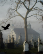 Passerines Prints - Haunted Halloween Cemetery Print by Gothicolors And Crows