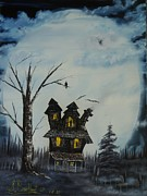 Haunted Mansion  Paintings - Haunted House 2007 by Shawna Burkhart