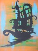 Haunted House Paintings - Haunted House Boat by Shelia Howe