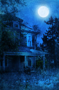 Moonlit Night Framed Prints - Haunted House Full Moon Framed Print by Jill Battaglia