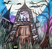 Haunted House Mixed Media Metal Prints - Haunted House Metal Print by Jenni Walford