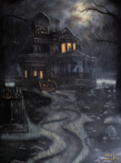Cemetary Paintings - Haunted House by Kayla Ascencio